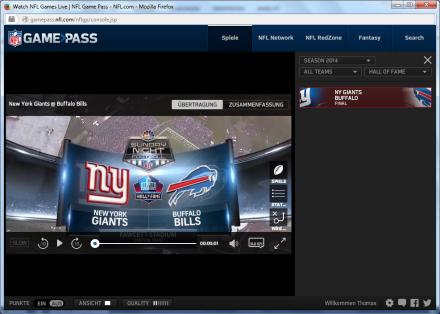 NFL-Gamepass im Look von 2014